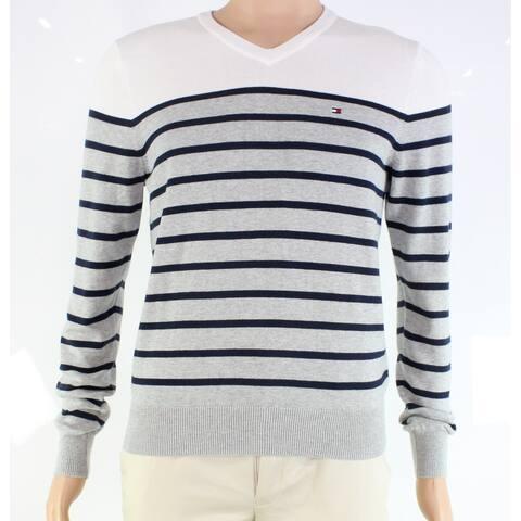 Tommy Hilfiger Mens Sweater Gray V-Neck Striped