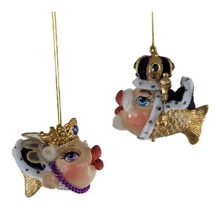 King and Queen Mardi Gras Kissing Fish Ornaments Set of 2