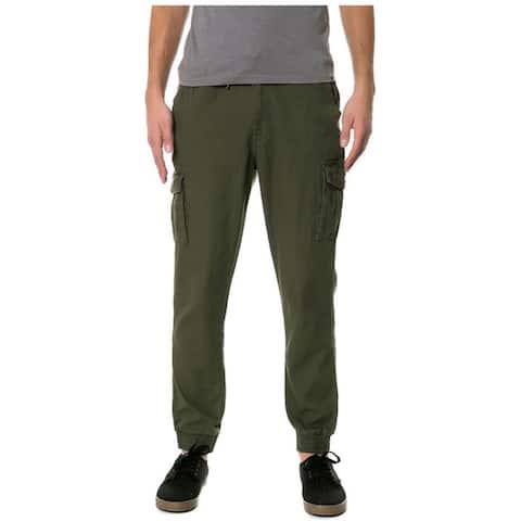 Staple Mens The Canvas Cuff Casual Jogger Pants, green, 32W x 28L - 32W x 28L