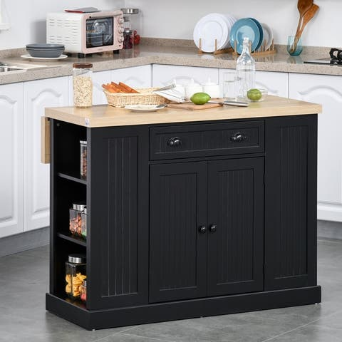 HOMCOM Fluted-Style Wooden Kitchen Island Cabinet with Drop Leaf, Drawer, Open Shelving, and Interior Shelving