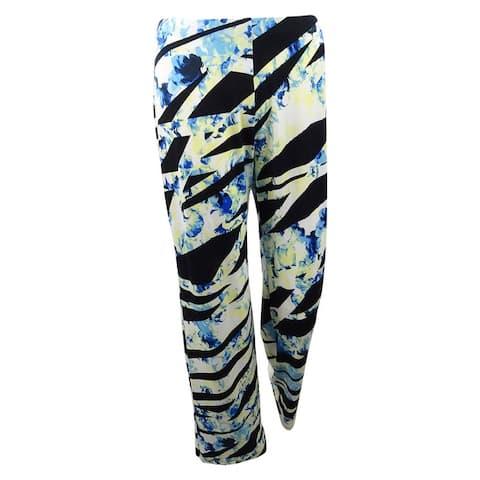 Alfani Women's Plus Size Printed Wide-Leg Pants - Black Think Ribbon