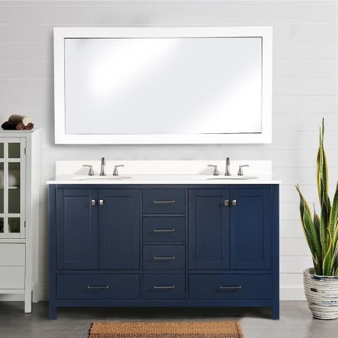 Proox 60 in.Double Rectangle Sink Bathroom Vanity Quartz Stone in Dark Blue