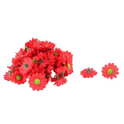 Bride Wedding Fabric Artificial Flower Heads Headband Garland Decor 50pcs - Red