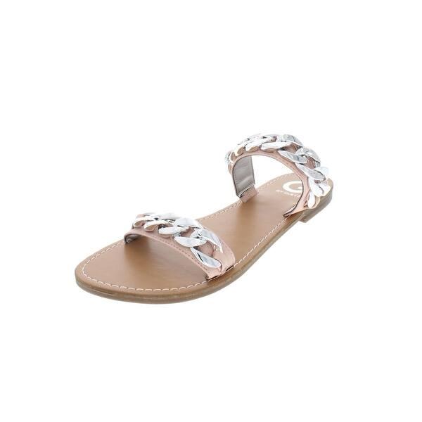 287b1e2d6535 Shop G by Guess Womens Tunez Flat Sandals Faux Leather Slides - Free ...