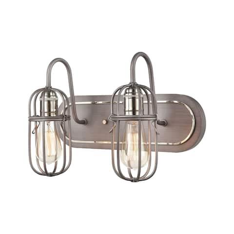 Industrial Cage 2-Light Vanity Light in Weathered Zinc