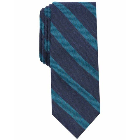 Bar III Men's Navy Teal Blue Bayside Striped Skinny Neck Tie Accessory