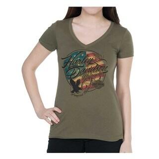 Harley-Davidson Women's American Flag Short Sleeve V-Neck Tee, Military Green