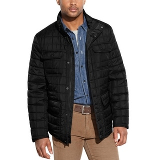 Tommy Hilfiger TH Quilted 4 Pocket Field Jacket Small S Black Solid
