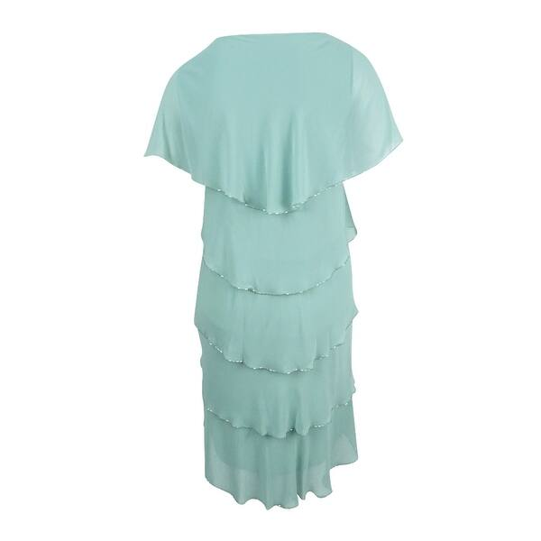 SL Fashions Women\'s Plus Size Beaded Tipped Tiered Capelet Dress - Sage