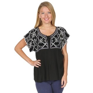 Women's Peasant Tunic Top - Embroidered Bodice Lace-Tie Shirt