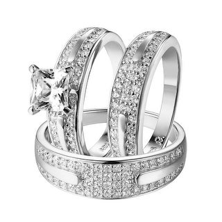 His & Hers Wedding Trio Ring Set Princess Cut Simulated Diamond Sterling Silver
