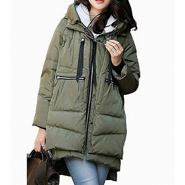 Orolay Green Womens Size XL Puffer Sherpa Hooded Zip Detail Jacket