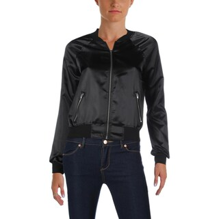 Material Girl Womens Juniors Bomber Jacket Graphic Raglan 27Sleeves - S