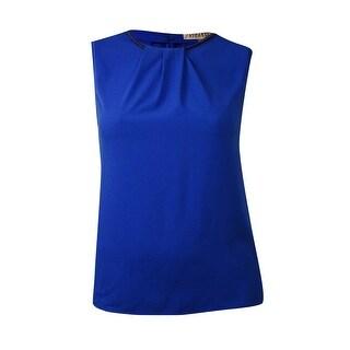 Kasper Women's Sleeveless Solid Pleat Neckline Blouse