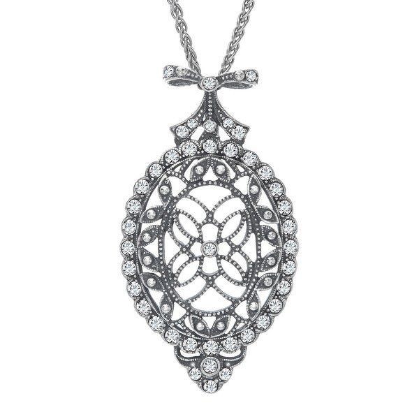 Van Kempen Victorian Medallion Pendant with Swarovski Crystals in Sterling Silver - White
