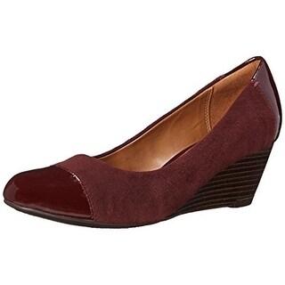 Clarks Womens Brielle Chanel Suede Toe Cap Wedge Heels - 8 medium (b,m)