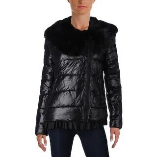 Betsey Johnson Womens Bomber Jacket Winter Puffer