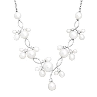 Honora Freshwater Pearl Garland Necklace with Swarovski Zirconia in Sterling Silver