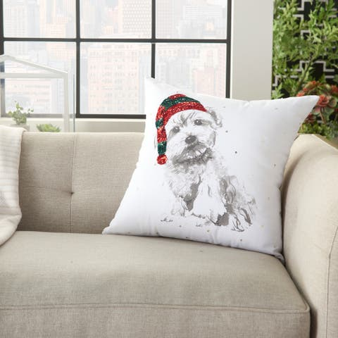 """Nourison Holiday Modern Dog with Sequin White Throw Pillow , ( 18"""" x 18"""" )"""