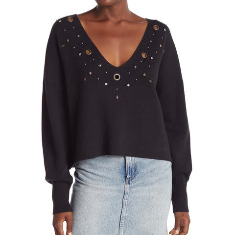 Wildfox Women's Black Size Small S Grommet Trim V-Neck Sweater