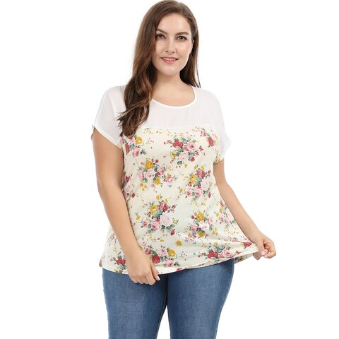 Allegra K Women's Plus Size Paneled Dolman Sleeves Floral Prints Top
