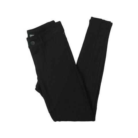 Aqua Womens Moto Pants Mid-Rise Ponte