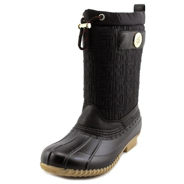 Tommy Hilfiger Romea Women Round Toe Canvas Black Rain Boot