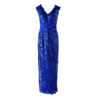 Tadashi Shoji Womens Sequined Fitted Evening Dress
