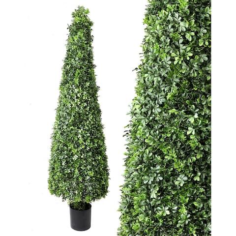 "Plastic English Boxwood Cone Topiary 72"", Uv Rated"