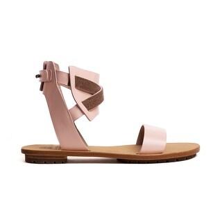 Brunello Cucinelli Women Monili Crisscross Pink Leather Sandal