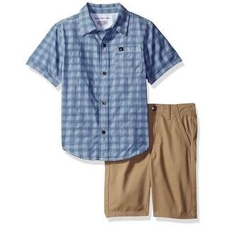 Calvin Klein Kids Boys 4-7 Chambray Woven Short Set