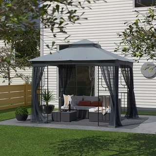 Garden Gazebo Polyester Fabric 10' x 10' Patio Backyard Double Roof Vented Gazebo Canopy with Mosquito Netting, Dark Gray