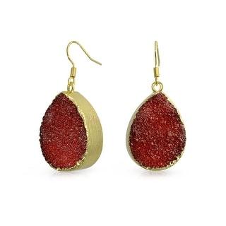 Bling Jewelry Gold Plated Brass Red Dyed Druzy Agate Teardrop Dangle Earrings