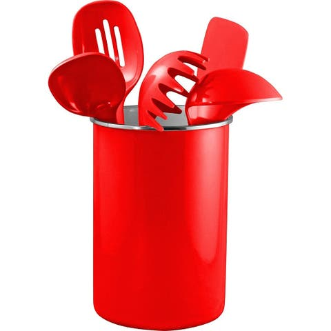 Reston Lloyd Enamel on Steel Utensil Holder & 5 Piece Utensil Set, Red