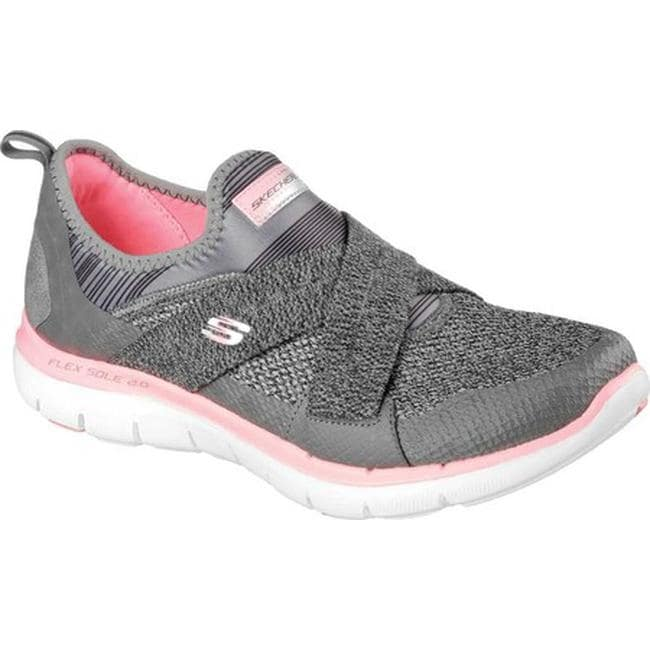 45cc259853ff Skechers Women  x27 s Flex Appeal 2.0 New Image Walking Shoe Charcoal Coral