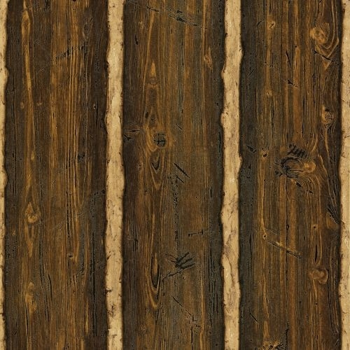 Brewster TLL41382 Log Cabin Brown Wood Paneling Wallpaper