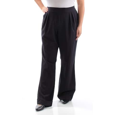TAHARI Womens Navy Cuffed Pants Size 18