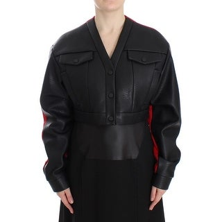 KAALE SUKTAE Black Short Croped Coat Bomber Jacket - it40-s