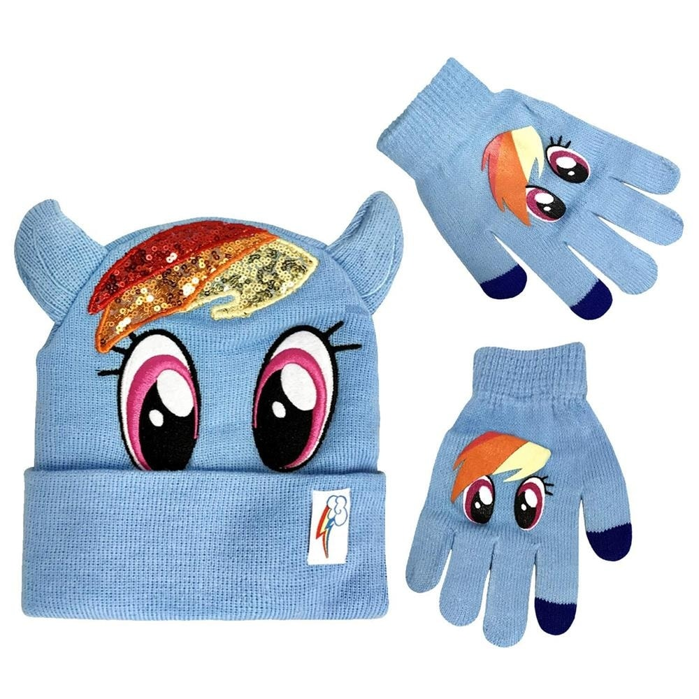 One Size Child Girls My Little Pony Rainbow Dash Hat /& Glove set