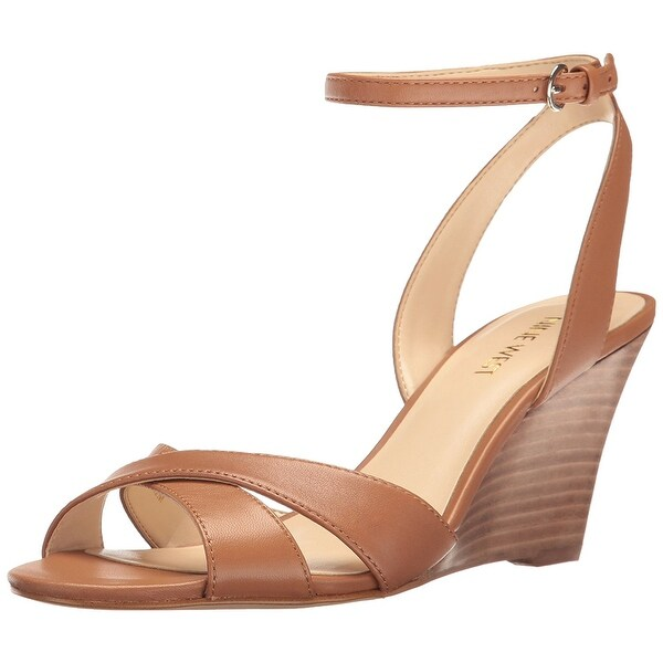 Nine West Womens Kami Leather Open Toe Casual Platform Sandals