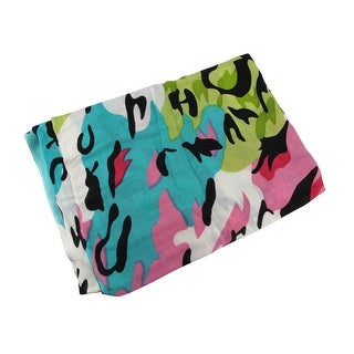 Splashes of Spring Colors Acrylic Leopard Print Scarf 70 in. X 26 in.