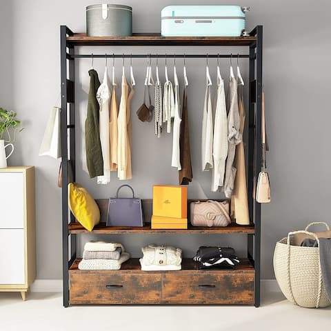 Frees-Standing Closet Organizer with Fabric Drawers and Hooks,Large Clothes Closet with Shelves and Hanging Rod