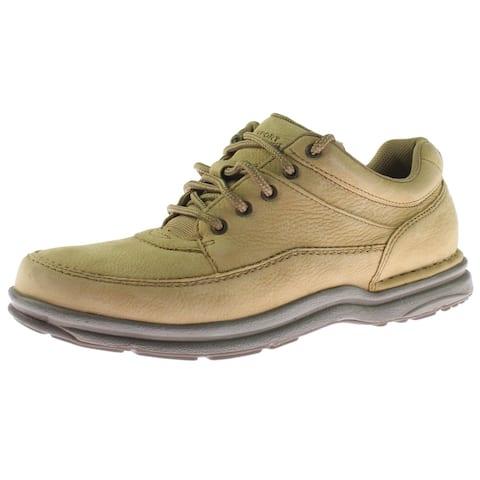 Rockport Men's World Tour Classic Leather EVA Flexible Walking Fashion Sneaker - Sand Nubuck