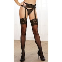 5c74f5c103 Shop Sheer Black Lace Top Thigh Highs