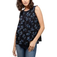 Lucky Brand Womens Pullover Top Floral Print Sleeveless