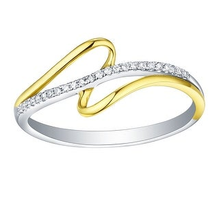 Prism Jewel 0.80MM 0.06CT Round Brilliant Cut Natural G-H/I1 Diamond Two-Tone Gold Ring - White G-H