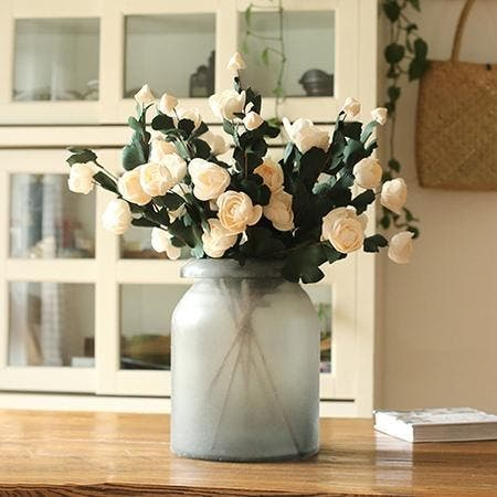 """RusticReach PE French Rose Bloom Stem in White 25"""" Tall (Set of 5)"""