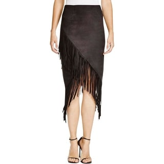Olivaceous Womens Pencil Skirt Lined Faux Suede