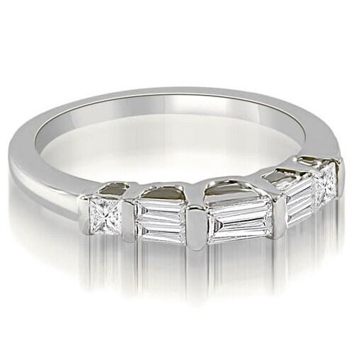 0.40 cttw. 14K White Gold Bar Set Baguette Diamond Wedding Band