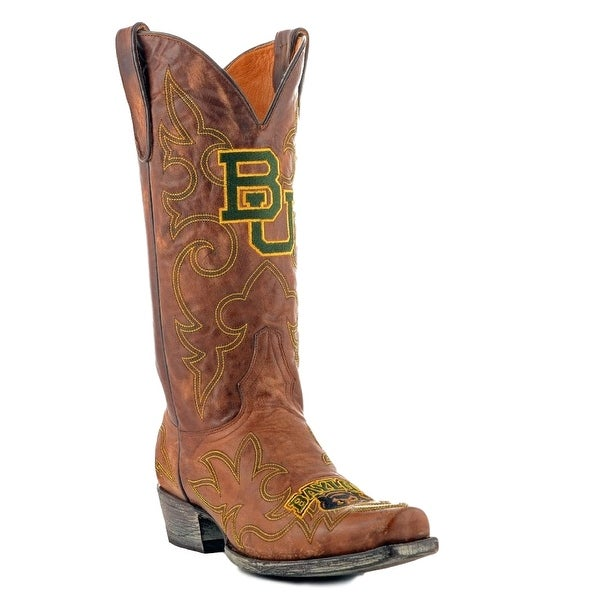Gameday Boots Mens Leather College Team Baylor Bears Brass